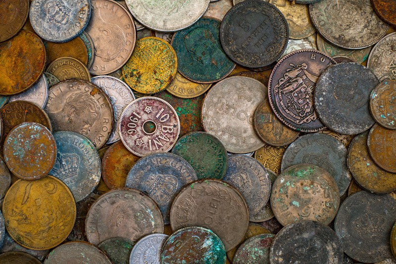 A bunch of Romanian coins  photo
