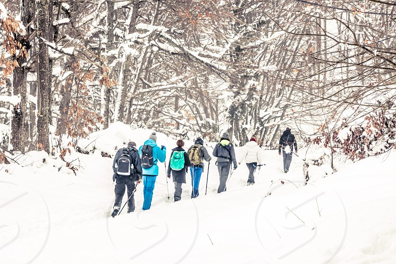 Group Of People Hiking On Snowy Mountain In Winter photo