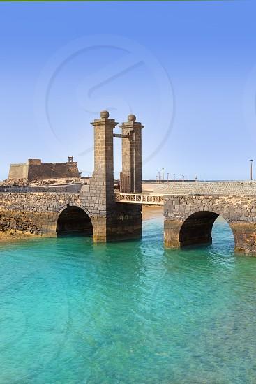 Arrecife Lanzarote Castillo San Gabriel castle and Puente de las Bolas bridge photo
