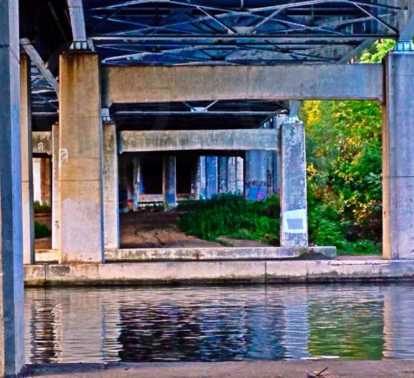 river uinder the metal bridge photo