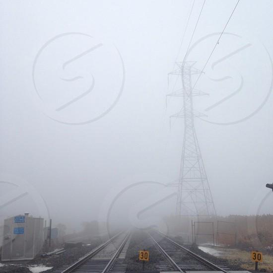 Fog railroad tracks Meadowlands NJ photo