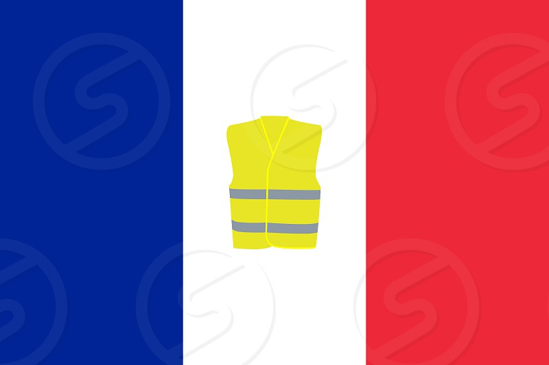 Flag of France with Yellow Vest Unofficial Protest Movement Symbol Illustration photo