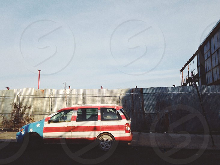 american flag five door wagon photo