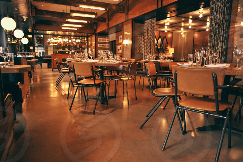 bowery meat company ny inside view with tables and lights photo