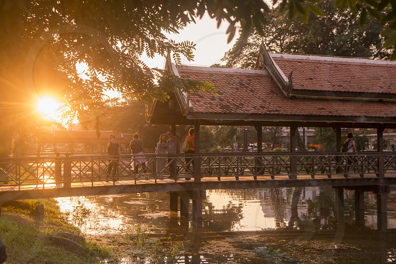 a bridge at the Siem Reap River in the old Town in the city of Siem Reap in northwest of Cambodia.   Siem Reap Cambodia November 2018 photo