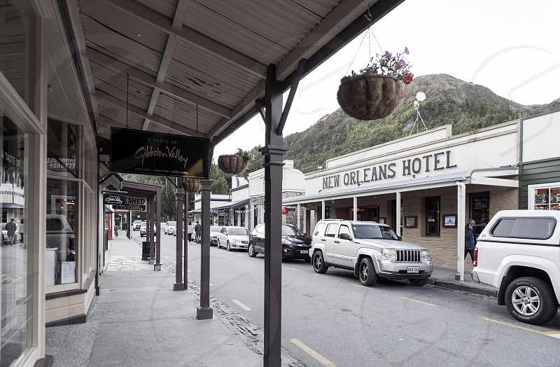 Old classic buildings and shops on Buckingham Street in the historic town of Arrowtown Queenstown Lakes District New Zealand photo