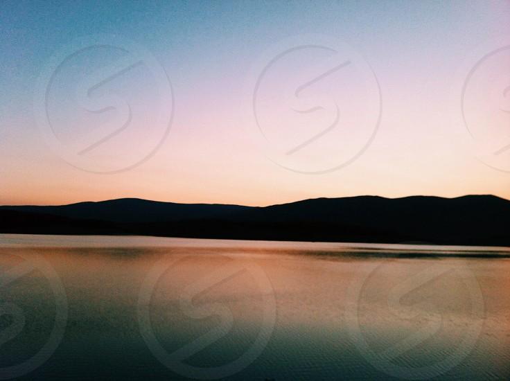 Sunset in the Yarlovtzi lake (Bulgaria) photo