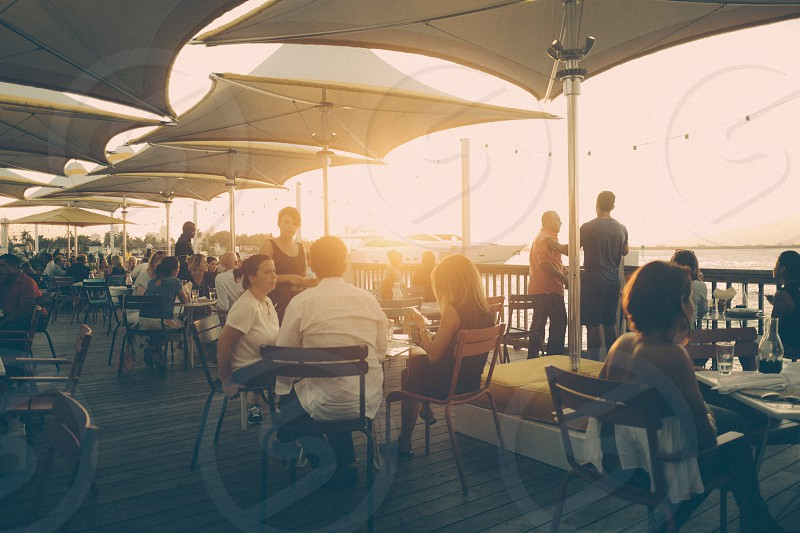 Boardwalk Dining. Sunset. South Beach. Miami Florida. photo