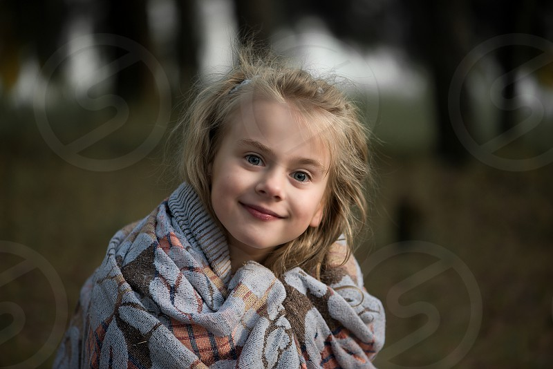 Close up portrait of beautiful little girl photo