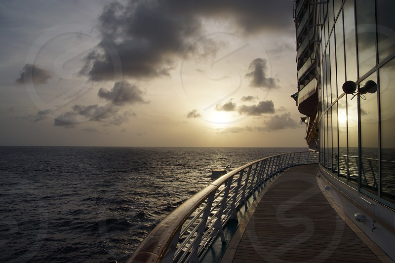 Sunset and reflection in the Caribbean photo
