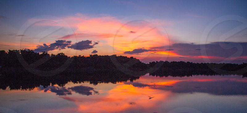 sunset lake firefly florida photo