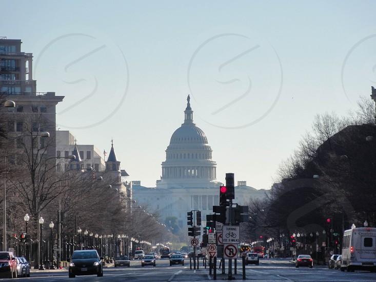 Bustling City Scene Washington DC USA. photo