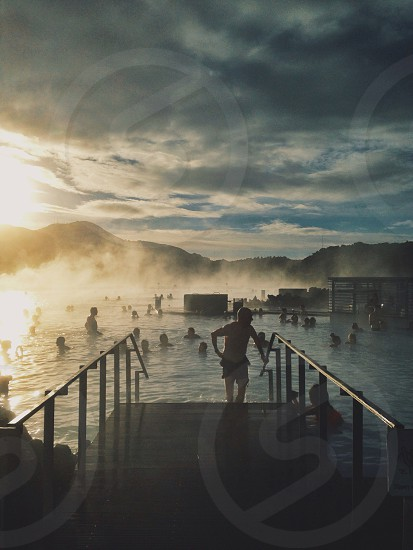 view of people on hot spring photo