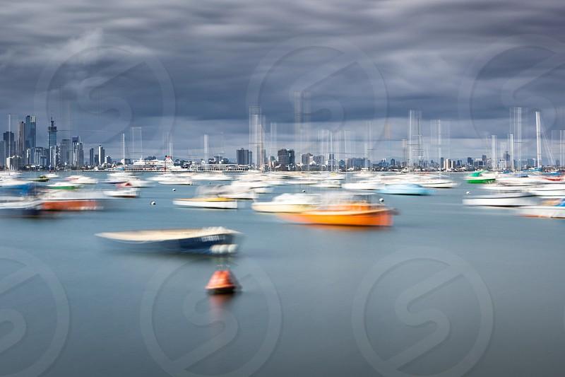 Yachts skyline painting city color palette Melbourne bay stormy sky storm photo
