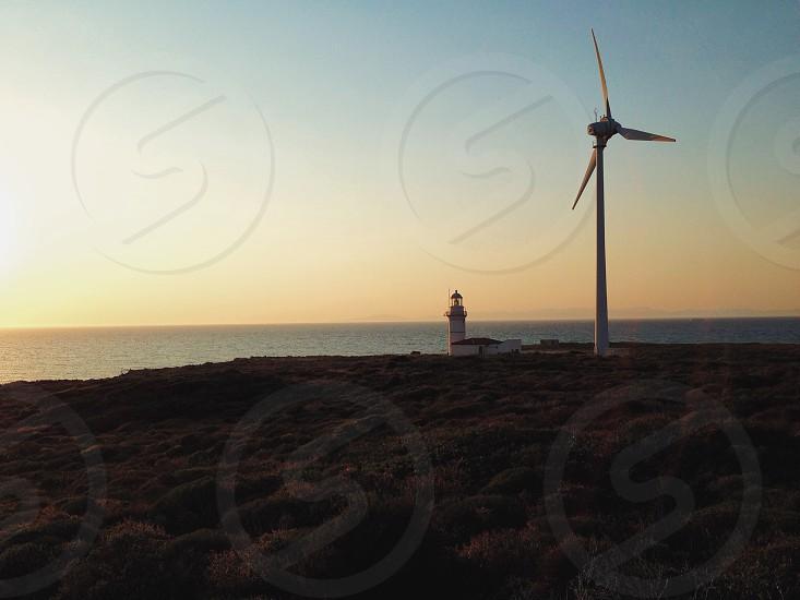 wind mill on beach photo