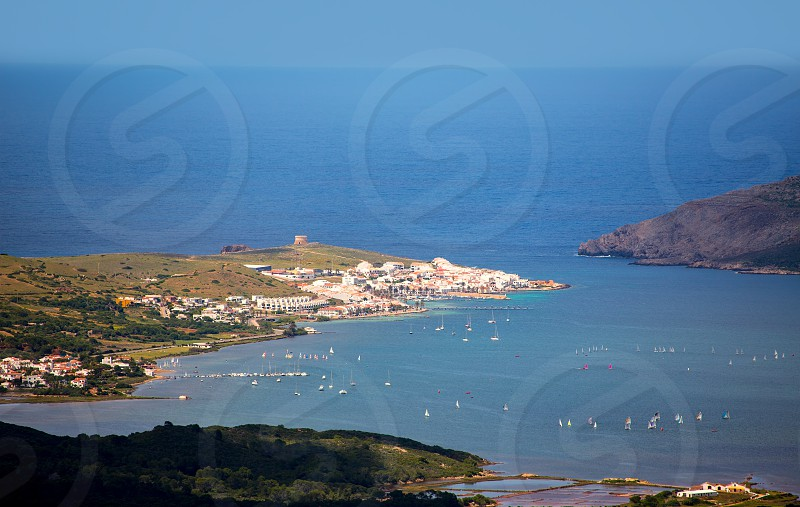 Menorca Fornells aerial view from Pico del Toro in Balearic islands photo