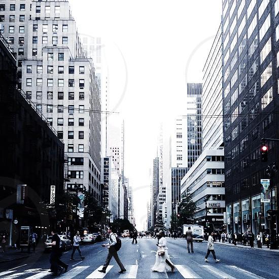 people in cross walk and buildings photo