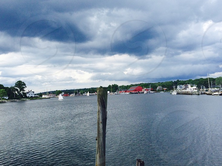 lake with boats photo