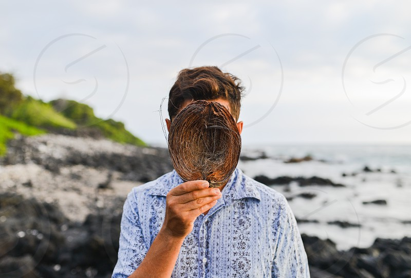 tropical hawaii coconut beach ocean pacific sun warm vacation luxury man mask photo