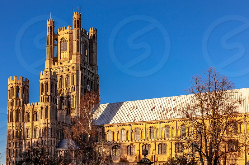 ELY CAMBRIDGESHIRE/UK - NOVEMBER 23 : Exterior view of Ely Cathedral in Ely on November 23 2012 photo