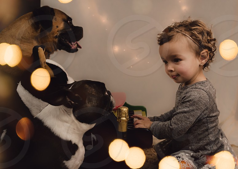 Christmas magic playing piano music for a girl's best friend  photo
