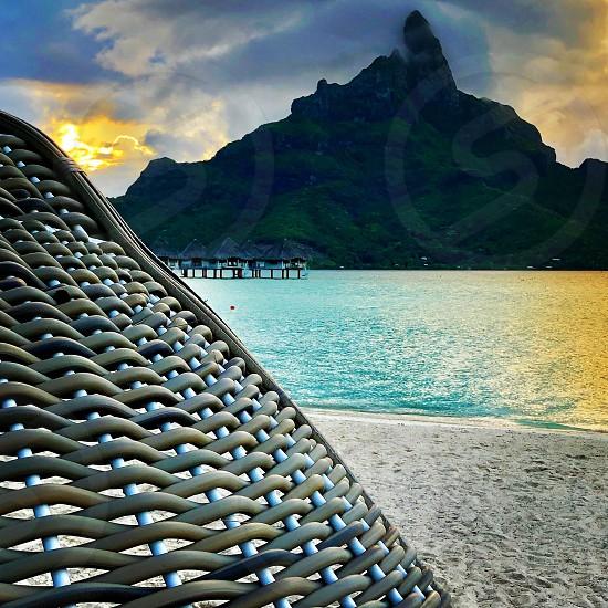 Bora bora-bora Polynesia  cabana wicker beach angle Otemanu vacation relax sea lagoon mount mountain  photo