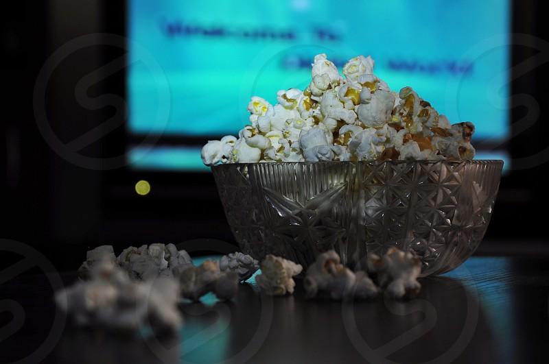 white popcorns in clear ornate bowl photo