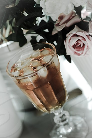 Iced chai tea cold summer patio ice chilled  photo