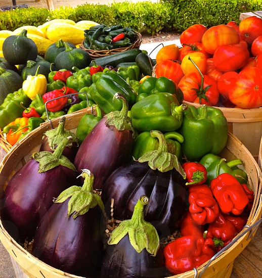 aubergine and green and red bell pepper in basket photo
