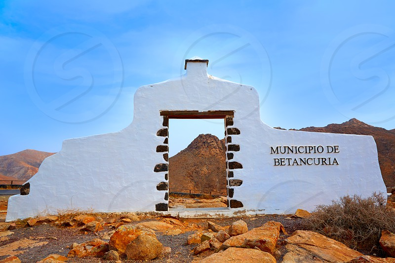 Betancuria welcome monument sign Fuerteventura at Canary Islands photo