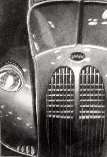 Charcoal drawing of antique vintage car photo