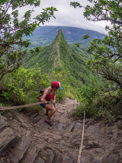 Mountain climbing using a rope. Adventureclimbingmountainrockhikenature photo