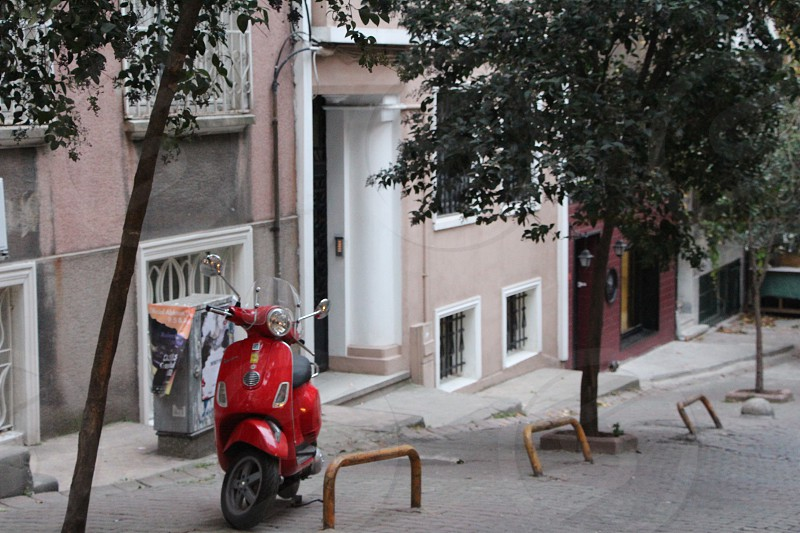 vespa scooter street red hill istanbul autumn city corner real photo