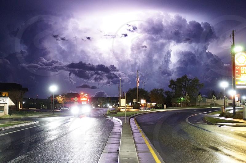 Lightning storm clouds thunder  photo
