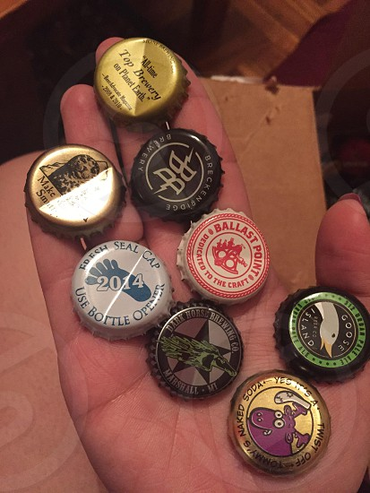 A variety of beer caps. photo