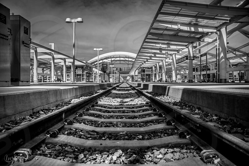 black train rails photo