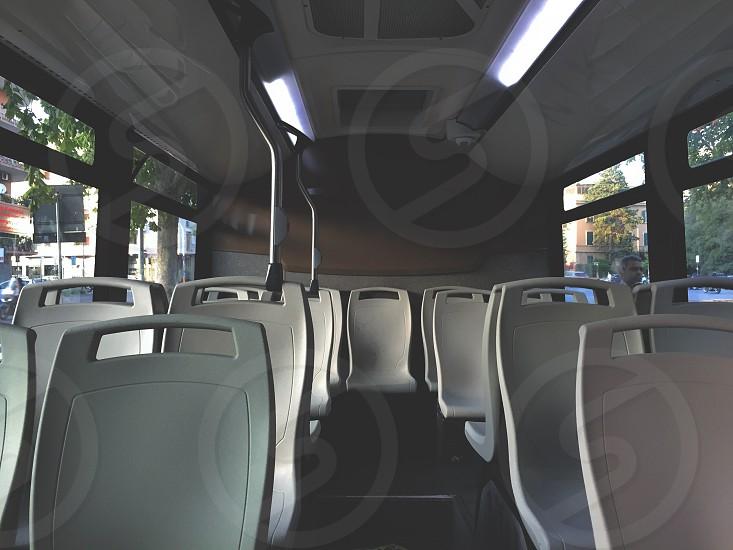 Bus transportation public interior seat chair travel photo
