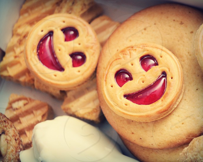 Cookie Face Smile Bake Happy Sweet Sugar Pastry Jam photo