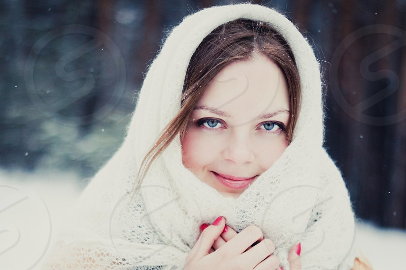 Winter snow girl woman portrait eyes blue eyes beautiful natural light winter holidays russia photo