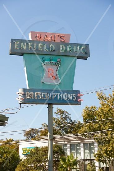 Historic Nau's Pharmacy sign. Opened in 1951 Nau's is a staple of the Clarksville neighborhood. photo