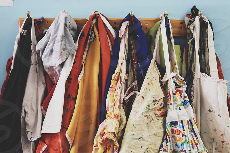 clothes hanged on hook photo