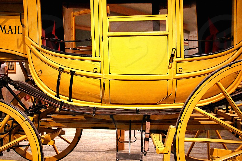 Bright yellow Western Union mail stagecoach photo
