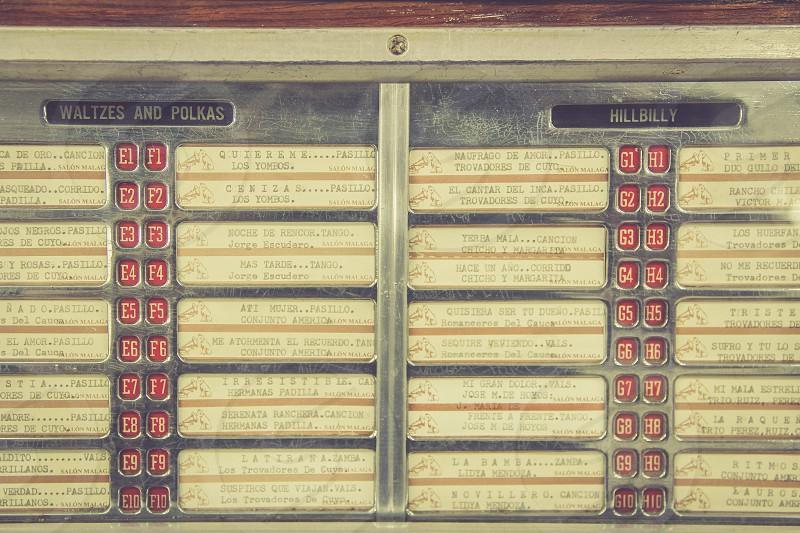 Juke box at the Salon Malaga Medellin Colombia. photo