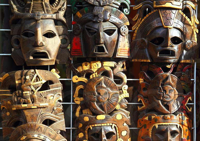 art Mexican wooden mask traditional handcrafted photo