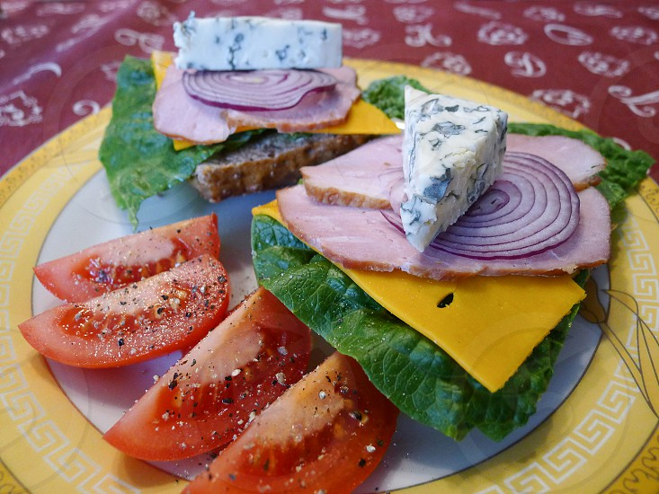 Colorful and healthy sandwiches on a plate. photo