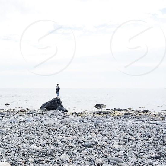 view of a rocky seashore photo