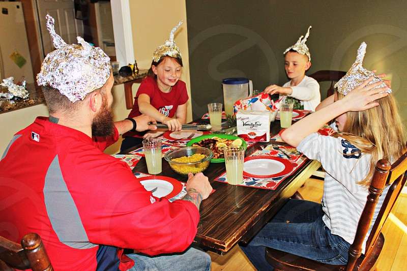 alien invasion themed dinner napkins vanity fair tin foil helmets photo