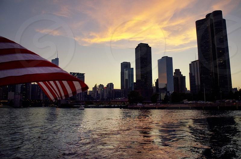 """An American Sunset"" sunset Chicago flag America photo"