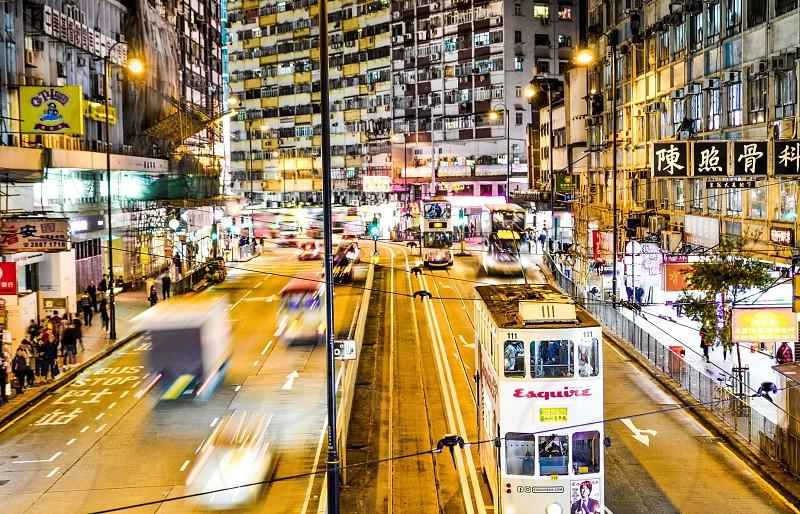 Tram ride in city night life. photo