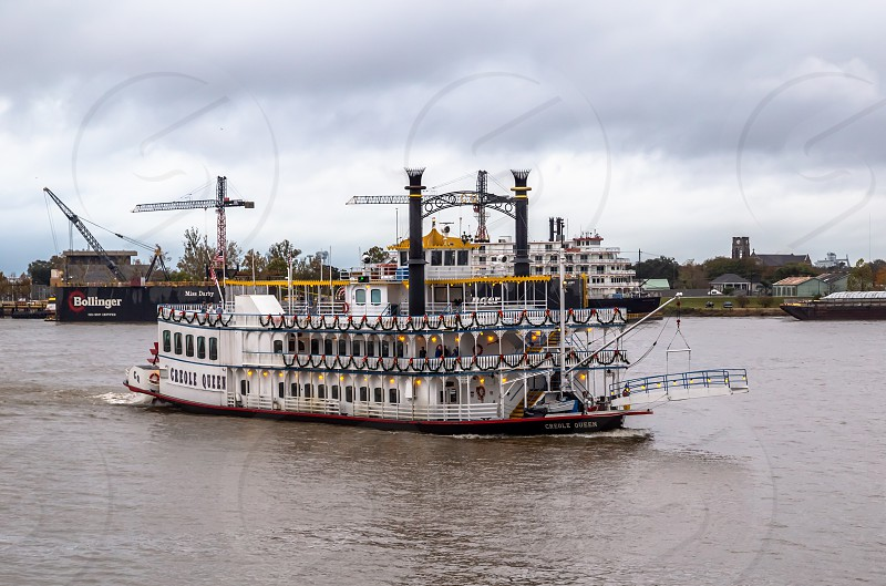 River boat in New Orleans decorated for the holidays photo